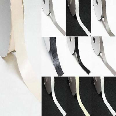 """by 5 Meters double faced satin ribbon 3/8"""" /9mm white gray n blacks"""