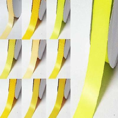 """by 5 Meters double sided satin ribbon 3/8"""" / 9mm yellow-orange"""