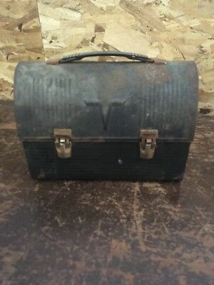 """Old Vintage """"V"""" Dome Black Metal Thermos Lunchbox With Handle Made In USA"""
