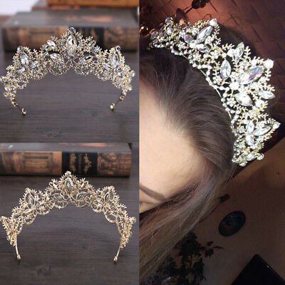 Wedding Baroque Luxury Crystal AB Bridal Crown Tiaras Light Gold DiademTiara