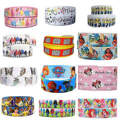 "100's of Girls Designs 22mm (7/8"") Cartoon Grosgrain Ribbon Party Cake Hair Bows"