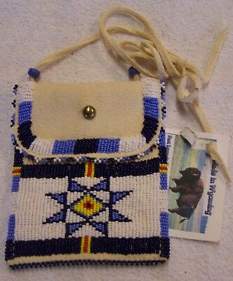 Hand Made Small Beaded Neck Pouch Rendezvous Black Powder Mountain Man 31