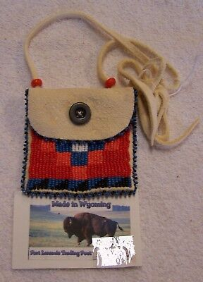 Hand Made Small Beaded Neck Pouch Rendezvous Black Powder Mountain Man 32