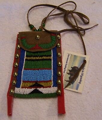 Hand Made Small Beaded Neck Pouch Rendezvous Black Powder Mountain Man 33