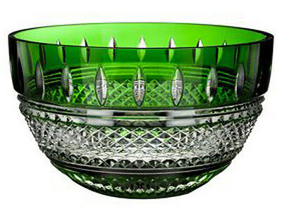 """Waterford Irish Lace 10"""" Bowl Emerald Green Cased & Clear Crystal #40001471"""