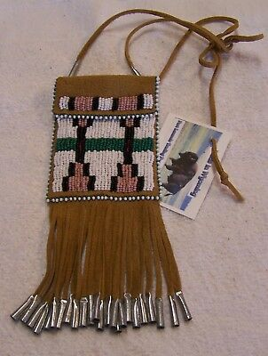Hand Made Small Beaded Neck Pouch Rendezvous Black Powder Mountain Man 38