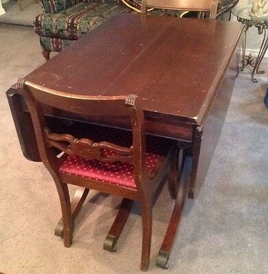 ANTIQUE Duncan Phyfe Style Drop Leaf Table 2 Duncan Phyfe Style Rose Back Chairs