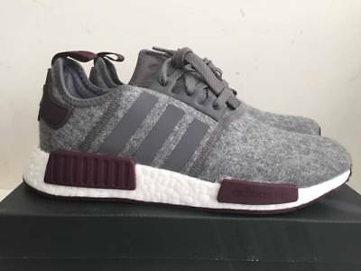 6937d417f Adidas NMD R1 Grey Wool Maroon White CQ0761 Exclusive Boost Runner Men s  Size