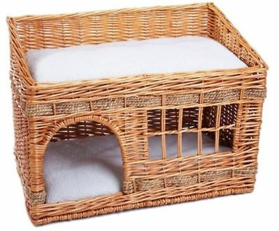 Wicker Cat Basket House Bed  Pet Double Home Cushions Kitten Cosy Sleeping Nest