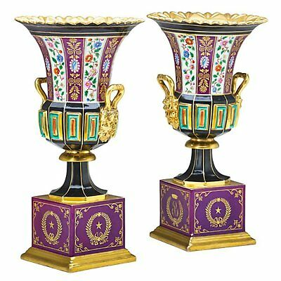 Pair of Antique French Paris Porcelain Vases with Maroon Bases