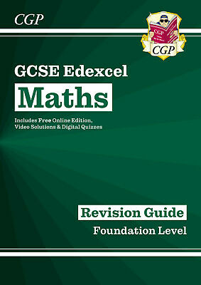 New CGP EDEXCEL MATHS GCSE GRADE 9-1 FOUNDATION LEVEL REVISION BOOK KS4 + Online