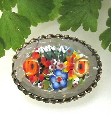 Lovely Antique Italian Mosaic Pin Opaline Glass Tiles W/ Florals