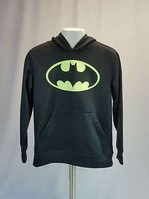 Batman Boys Hooded Pullover Sweatshirt SZ Large 10/12 Black Neon Green