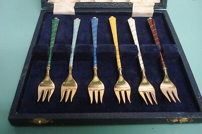ELA Guilloche Enamel Danish sterling silver GILT gold Cake pickle Fork box set