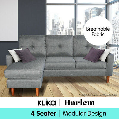NEW LINEN CORNER Sofa Lounge Couch Modular Furniture L Chair Home Chaise  Grey