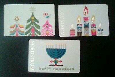 Three Nordstom Holiday Gift Cards, 2017, Hanukkah, Christmas, Collectible Mint