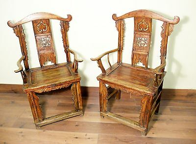 Antique Chinese High Back Arm Chairs (5423) One Pair, Circa 1800-1849