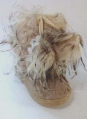 New Toddler Beige Girls Fluffy Fur Dressing Winter Boots Shoes Size 13