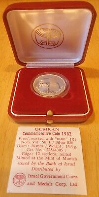 1982 'Qumran Commemorative 1 Shequel' Israel State Silver Proof Coin 30mm/14.4g