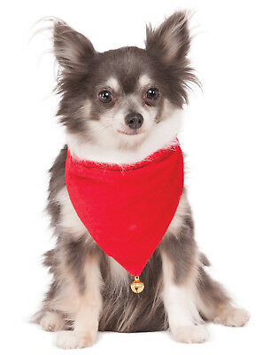 Santa Claus Pet Dog Cat Christmas Red Bandana Collar With Bell