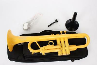 Plastic Yellow Tromba Trumpet With Bag & Stand