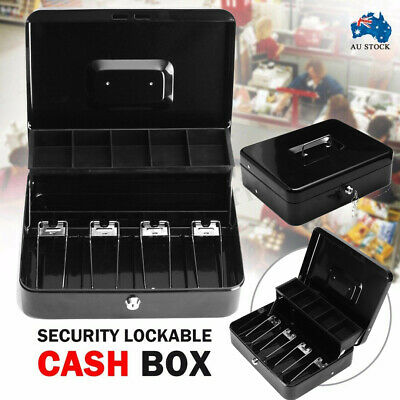 Lockable Cash Box Tiered Tray Money Drawer Portable Safe Storage For Security AU