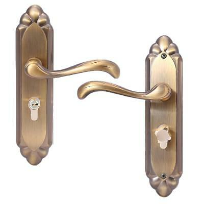 Antique Brass Privacy Door Security Entry Lever Mortise Handle Lock Full Set