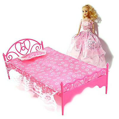 Plastic Miniatures Bedroom Furniture Single Bed Barbie Dolls Dollhouse Gift HIGH