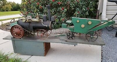 case steam tractor and threshing machine folk art antique toy steam engine