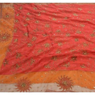 Sanskriti Vintage Hand Beaded Heavy Saree Blend Georgette Orange Glass Sari