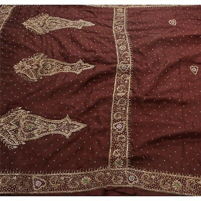 Sanskriti Vintage Hand Beaded Heavy Saree 100% Pure Satin Silk Antique Sari