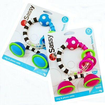 Sassy Toy Baby Kid Child ClanKing Rings Observe Rattle Phone Pretended Play Toys