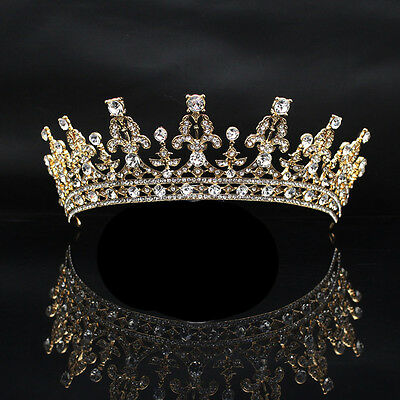 HH- Queen Tiara Bride Rhinestone Crown Hairband Headwear Wedding Jewelry Novelty