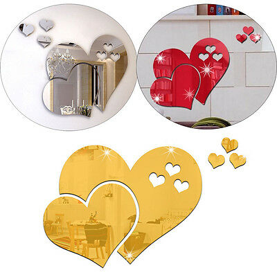 3D Love Hearts DIY Mirror Wall Sticker Home Room Removable Decal Decor Mural Art
