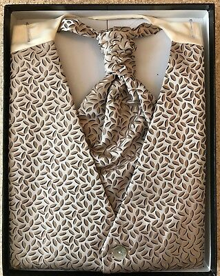 Wedding Waistcoat & Cravat in Brown Wheat Pattern - Large