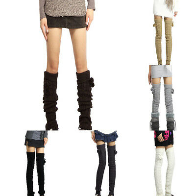 Winter Leg Warmers Knee Women High Thigh High Tie Cable knitted Long Boot Socks