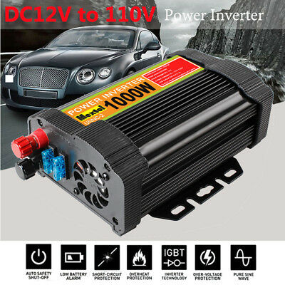Solar Power Inverter 2000W Peak 12V DC To 110V AC Modified Sine Wave Converter B