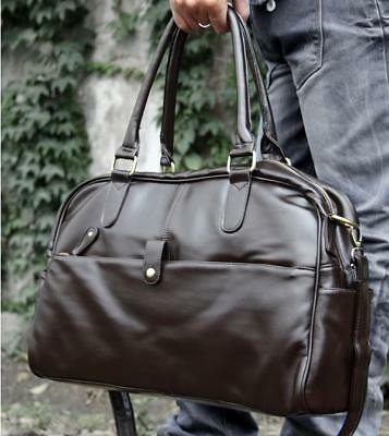 Brown large men leather vintage duffle luggage weekend gym overnight travel bag