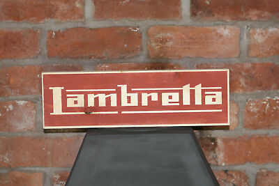 Lambretta Vintage Shabby Chic Wooden Sign Old Look Scooter Mods Motorcycle