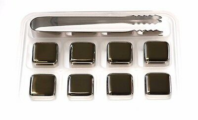 Metro Chill Cubes Stainless Steel Cooling Ice Cubes in Case Whisky Stones 4 or 8