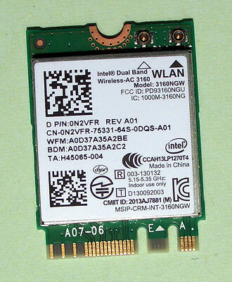 Intel Dual Band Wireless- AC3160 Model 3160NGW 433Mbps Bluetoth4.0 NGFF 0N2VFR