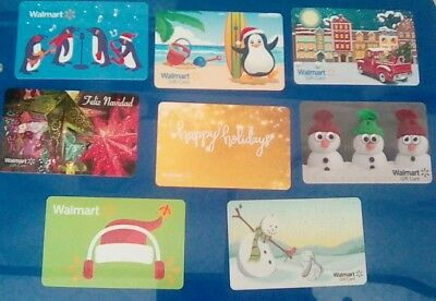 Eight (8) Walmart Gift Cards 2017Christmas, Holiday Assorted Collectible Mint