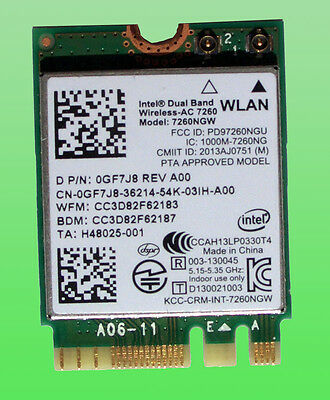 Original Intel Dual Band Wireless- AC7260 Model 7260NGW  BT4.0 NGFF  0GF7J8