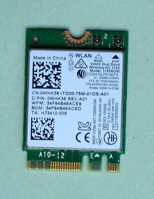 Intel Dual Band Wireless- AC3165 Model 3165NGW 802.11ac  0MHK36  Bluetoth4.0 M.2