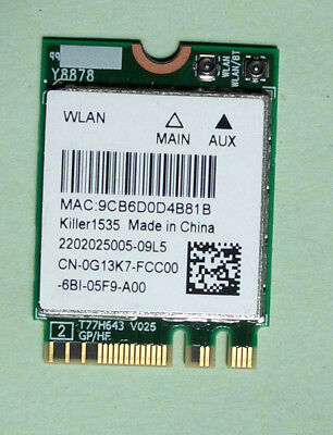 Killer1535 Model: QCNFA364A 802.11ac 867Mbps Bluetooth 4.1  0G13K7