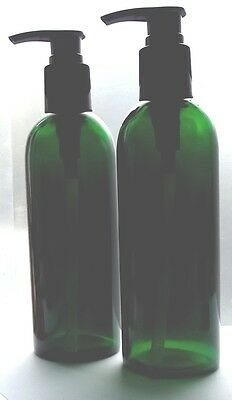 Empty 2 x Green Glass 200ml Cosmetic Container Bottle Packaging & Black Pumps