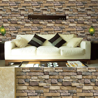 Morden 3D Brick Stone Style Wallpaper Bedroom Living Mural Roll Wall Background