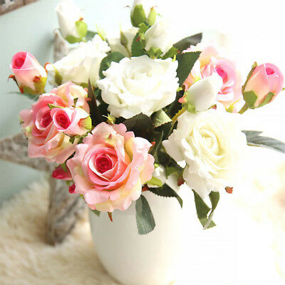 HH- 1Pc Artificial Rose Fabric Fake Flower for Wedding Home Party Decoration Del