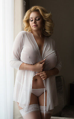 SoftLine Plus Size Sexy Morgenmantel POLA WHITE Negligé Transparent Weiß XL-XXXL