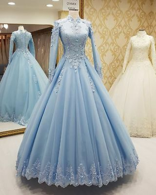 African Muslim Hijab Lace Prom Dress Formal Evening Party